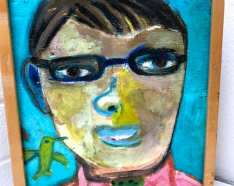 HummingBird and Boy Folk Art Outsider Pop Art Painting