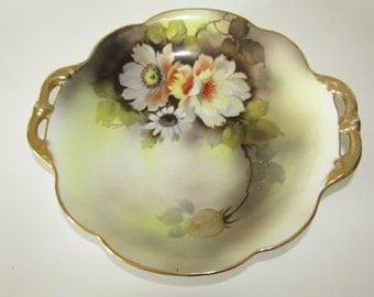 Antique Japanese Hand Painted Noritake China Bowl with Handles, M mark,