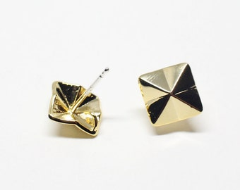 E0119/Anti-Tarnished Gold Plating Over Brass+Sterling Silver Post/Origami Square Stud Earrings/9x9mm/2pcs