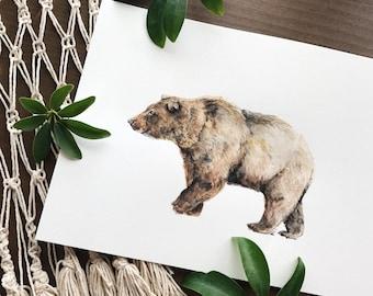 Original Watercolor Brown Bear