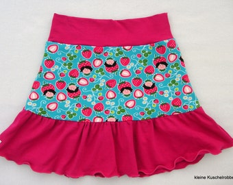 Rock, tiered skirt request size, strawberries, pink, turquoise