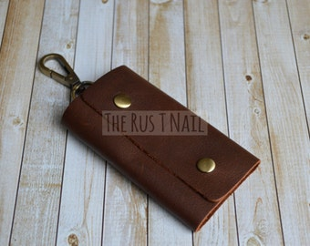 FREE SHIPPING - Distressed Leather Key Pouch - Key Case - Coffee
