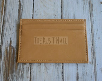 FREE SHIPPING - Slim Credit Card Wallet - Khaki - Genuine Leather