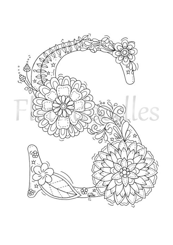 Adult Coloring Page Floral Letters Alphabet S Hand