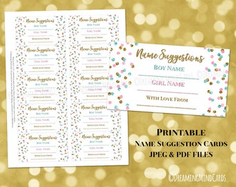 Name Suggestion Card for Baby Shower Printable Gold Pink Blue Confetti Pattern Boy and Girl Gender Neutral Instant Digital Download