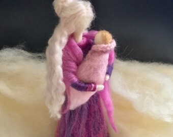 Needle Felted Mother with a Baby  Waldorf inspired Doll  Needle Felted Mother holding her Baby  Baby Shower Present  Mum to Be Soon  Gift