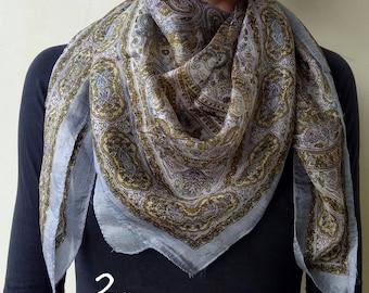 Silk scarf, floral square stole, silk bandana