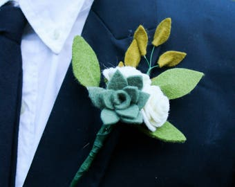Handmade Felt Flower Boutonniere, Groom, Wedding