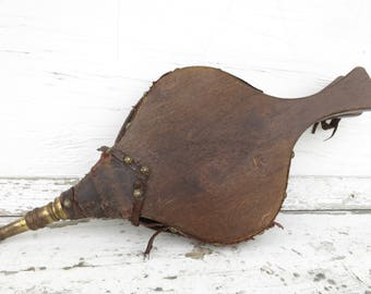 Antique Fireplace Bellows Primitive Hearth Tool Wood and Leather Turtleback Bellows Rustic Decor