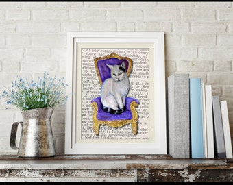 Royal cat on dictionary page printable, cat dictionary art, cat dictionary print, cat throne dictionary, dictionary cat, dictionary page art