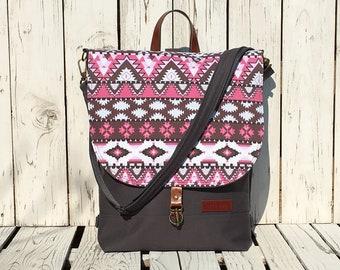 Pink Grey Aztec Backpack, Mulberry Flap Backpack, Functional Crossbody Bag, Vegan Rucksack, 2 in 1 Macbook Bag, School Bag, Birthday Gift