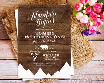 Woodland Birthday Invitation 1st birthday, adventure begins 1st birthday invitation, mountain bear 1st birthday invitation boy, wood rustic