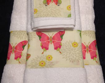 Butterflies Bath Towel Set,  Hand Towel and Washcloth - 3 Piece Set