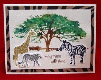 Birthday Card, Happy Birthday, Hey There Wild Thing!, Greeting Card, Love, Zebra, Giraffe, Cheetah (#31)