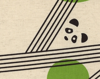 1/2 yard Kokka Parallels by Ellen Baker Cotton Linen Blend | Pandas | 42800-800-B Grass Green