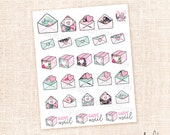Happy Mail Stickers - 27 hand drawn floral planner stickers / for the Erin Condren, Personal planners