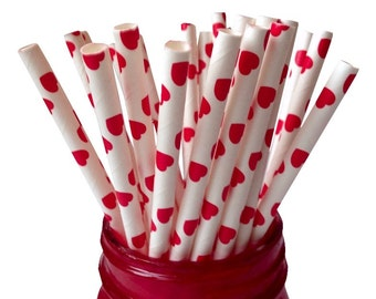 Red Heart Straws, Red Heart Paper Straws, Hearts Party Straws, Red Straws, Wedding Straws, Shower Straws, Party Straws, 10 pcs