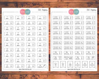 Pregnancy Planner Stickers, Doodle Planner Stickers, Pregnancy Countdown, Pregnancy Tracking, Pregnancy Milestone, Maternity Stickers (C013)