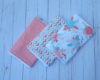 Mint and coral rose burp cloths-  baby girl, girl burpcloth, baby shower gift, floral chic, modern baby, burp rag, girl burp cloth set of 3