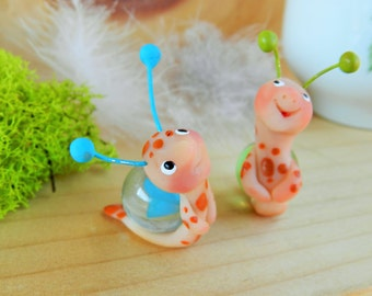 snail polymer clay snail figurine snail with marble