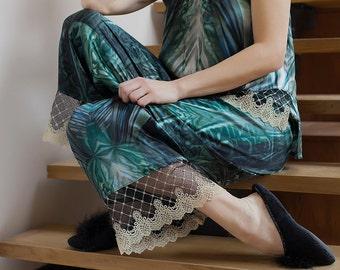 One-of-a-kind silk pajama, pjs all day, lounging pajama, wide leg pants, silk tank top, pajama with lace, silk sleepwear, tall women pajama