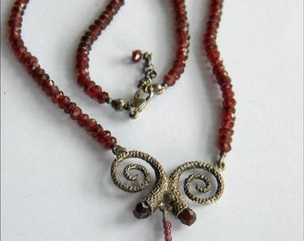 Faceted GARNET beads necklace SILVER 925 Citrine pendant ~inA2845