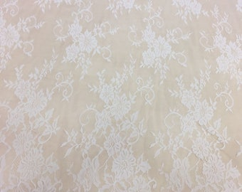 Ivory lace fabric, French Lace, chantilly lace, Wedding Lace, white Lace, soft Chantilly Lace   B000057
