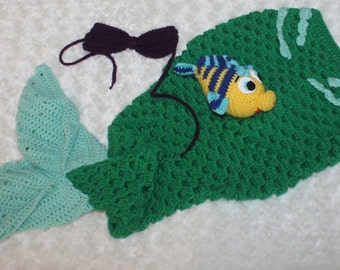 Little Mermaid Ariel Baby Set// Little Mermaid tail and Flounder// Flounder is a toy rattle// Mermaid Tail// Beach wear