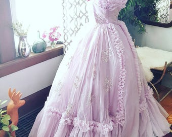 On Hold <>50s 50's Gorgeous Lavendar Gown Wedding Prom Formal Vintage Dress 1950s Small ChiffonTulle Strapless Embroidered 1 Payment Remains