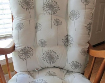 FREE SHIP Rocking Chair or Glider Cushions Set in Grey Dandelions Floral on  White Background Nursery rocking chair cushion   Etsy. Rocking Chair Cushion Sets For Nursery. Home Design Ideas