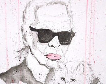 Chanel Creative Director Karl Lagerfeld Acrylic Painting Study with his cat Choupette - A3 Size