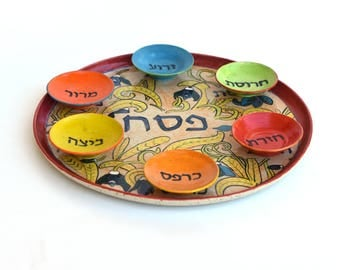 Passover Seder Plate, Passover Plate, ceramic Hand painted, Jewish Gifts, Judaica Art, Floral Jodaica Design, Judaica Israel,READY TO SHIP