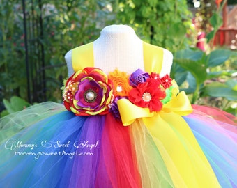 Rainbow tutu dress. Flower girl tutu dress. Birthday tutu. Candy land tutu dress. Pageant tutu dress. Vibrant rainbow tutu