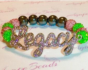 Alpha Kappa Alpha Pink Crystal Legacy Bracelet