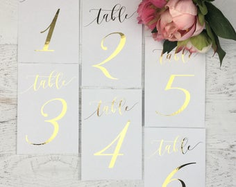 Gold Table Numbers - Wedding Table Markers - Wedding Table Decor - Gold Table Decor - White Table Markers - Gold Foil Table Numbers - Gold