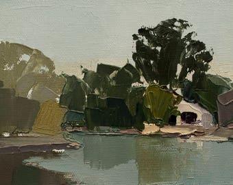 Boathouse, Original plein air palette knife landscape painting on 4x6 canvas board.