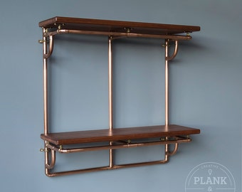 Copper Pipe Shelving unit in an Industrial / Urban / Vintage style. 2 Tier Hand Crafted Shelves with African Sapele Hardwood.