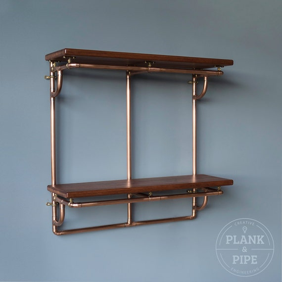 copper pipe shelving unit in an industrial urban vintage. Black Bedroom Furniture Sets. Home Design Ideas