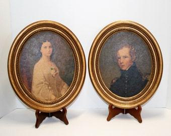vintage portrait pair florentine style oval frames large size oval frames