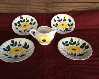 SALE! Set Of YELLOW NOCTURNE Blue Ridge Pottery China - 5 Pieces