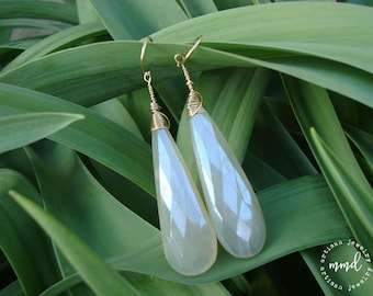 Chalcedony and Gold Wire Wrapped Long Earrings