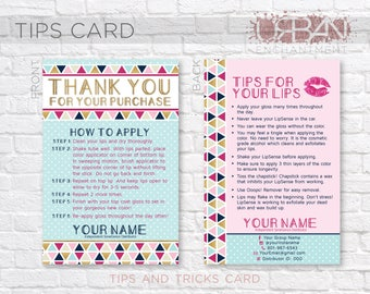 LipSense Application Card -- Geometric Polkadot -- Thank You Card - Tips and Tricks - Tips/Tricks - Instructions - SeneGence - Business Card