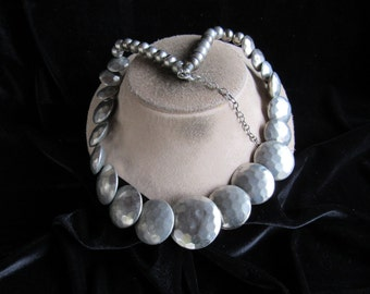 Vintage Long Chunky Silvertone Necklace
