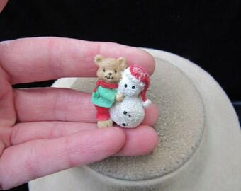 Vintage Christmas Ceramic Teddy Bear Snowman Pin