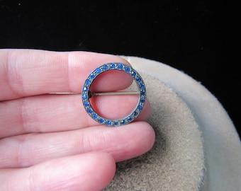 Vintage Silvertone & Blue Rhinestone Pin