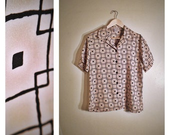 90s Notations khaki patterned short-sleeve button-down blouse