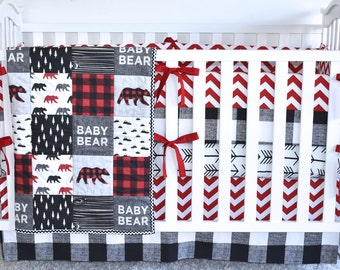 Baby Bear Bedding, crib bedding, toddler quilt, modern nursery, red and black, buffalo print, crib skirt, crib sheet, crib bumpers