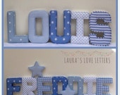 Fabric letters, personalised, initial, name, baby room, nursery, baby gift, baby shower, padded letters, wall art, home and living, children