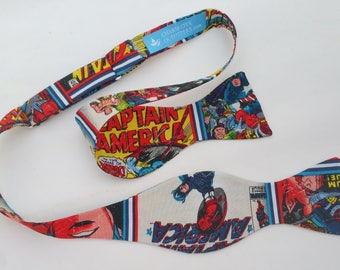 Captain America Avengers Self Tie Bow Tie Adjustable Comic Strip Marvel