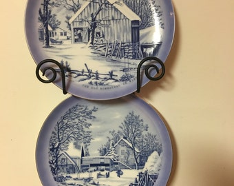 Vintage Currier and Ives Collector Plates, Winter, 1970s